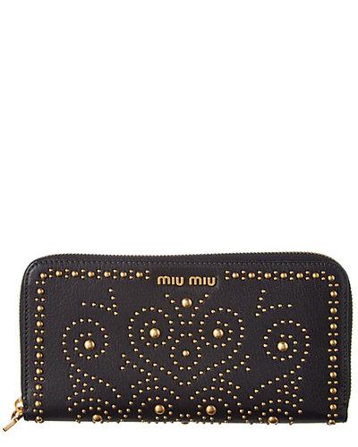 MIU MIU Madras Studded Leather Zip Around Wallet