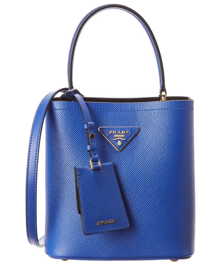 c1df3fcfc Prada Panier Small Saffiano Leather Bucket Bag, Blue | eBay