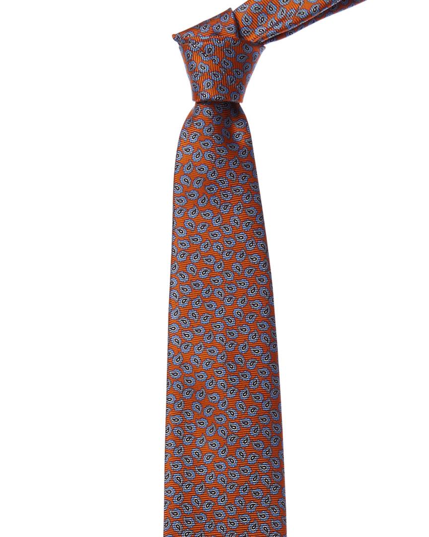 6a4769b8 Details about Ermenegildo Zegna Orange & Blue Paisley Silk Tie Men's Orange