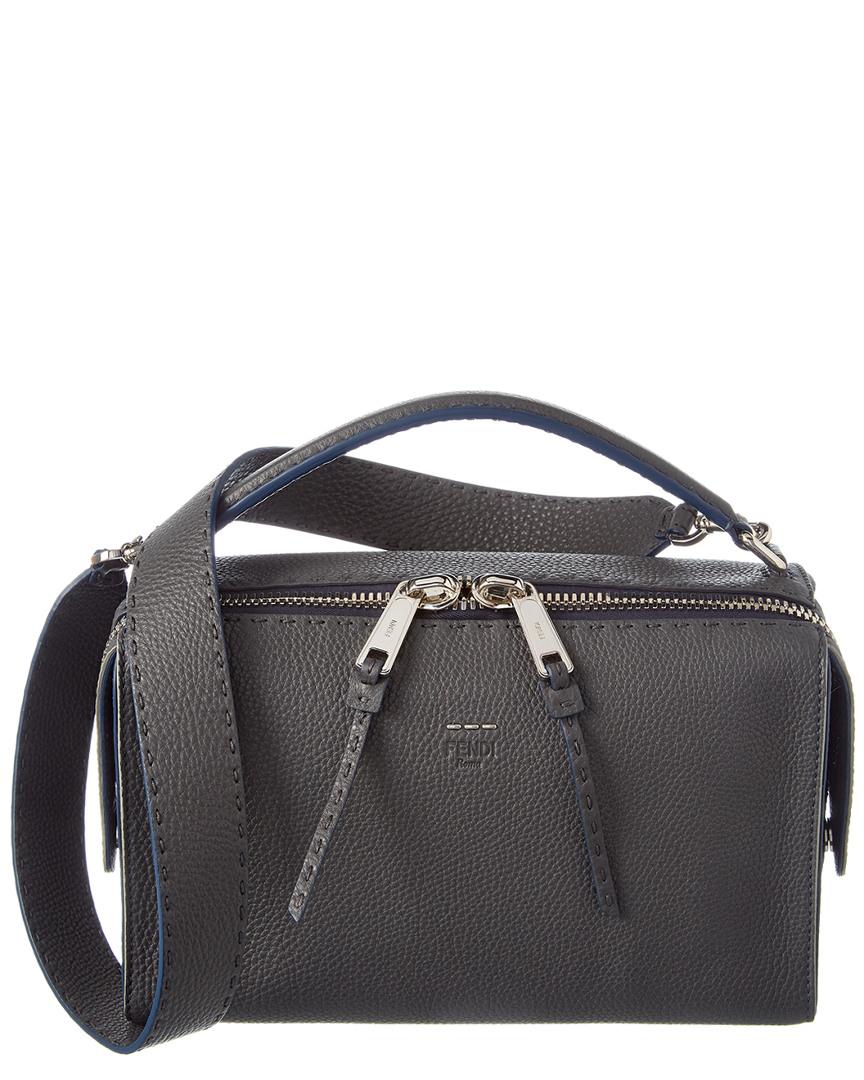 564bd1dde82f Fendi Lei Selleria Leather Boston Bag In Grey