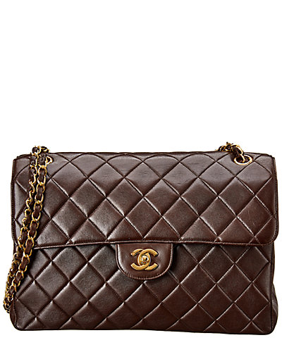 Chanel Brown Quilted Lambskin Leather Jumbo Double Flap Bag by Chanel