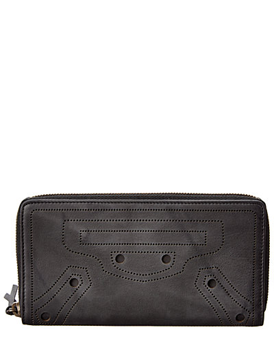 Balenciaga Blackout Continental Zip Around Leather Wallet