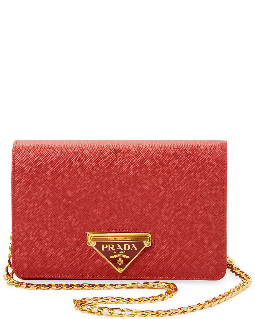 LUXE SAFFIANO LEATHER WALLET ON CHAIN