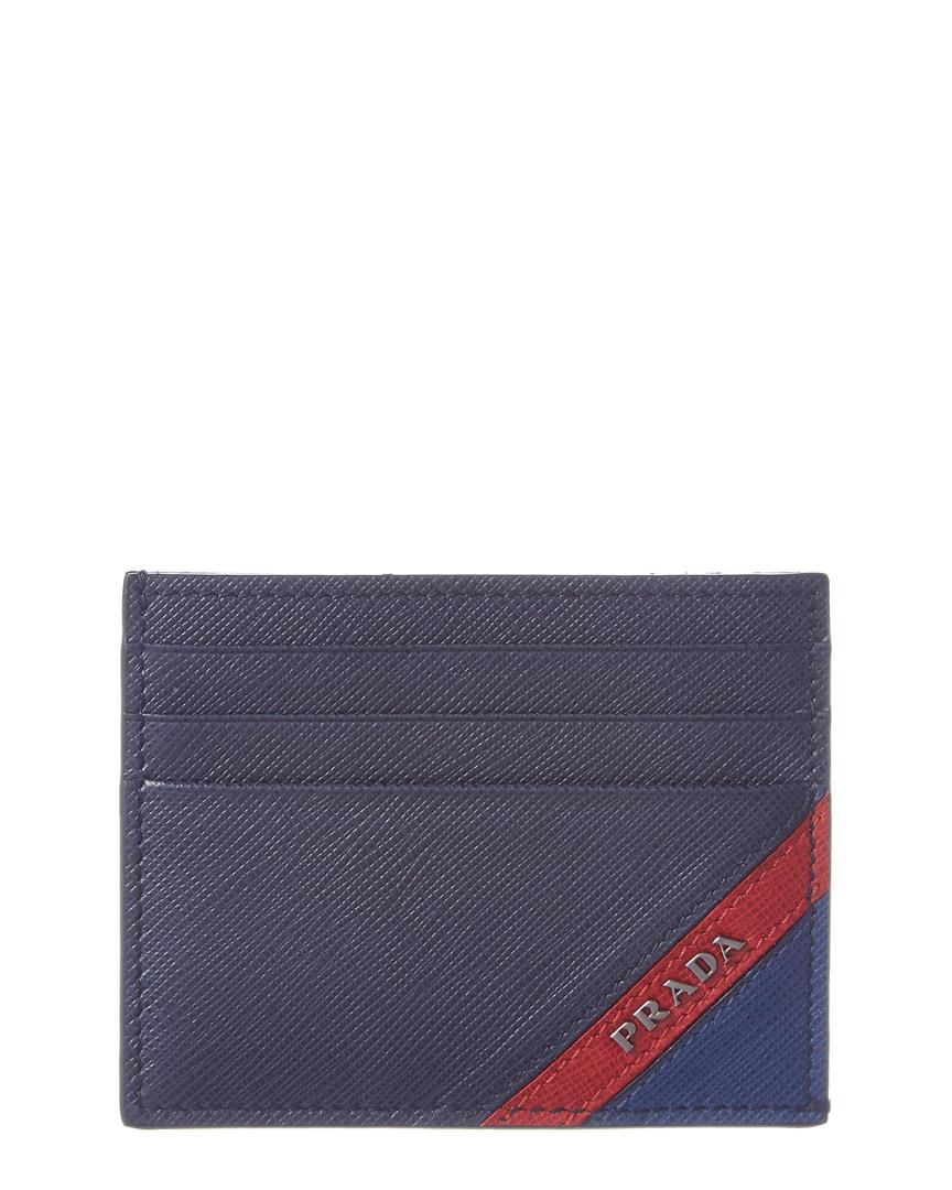 2721ab40a2be ... store prada intarsia saffiano leather card holder 95bf1 7bd15