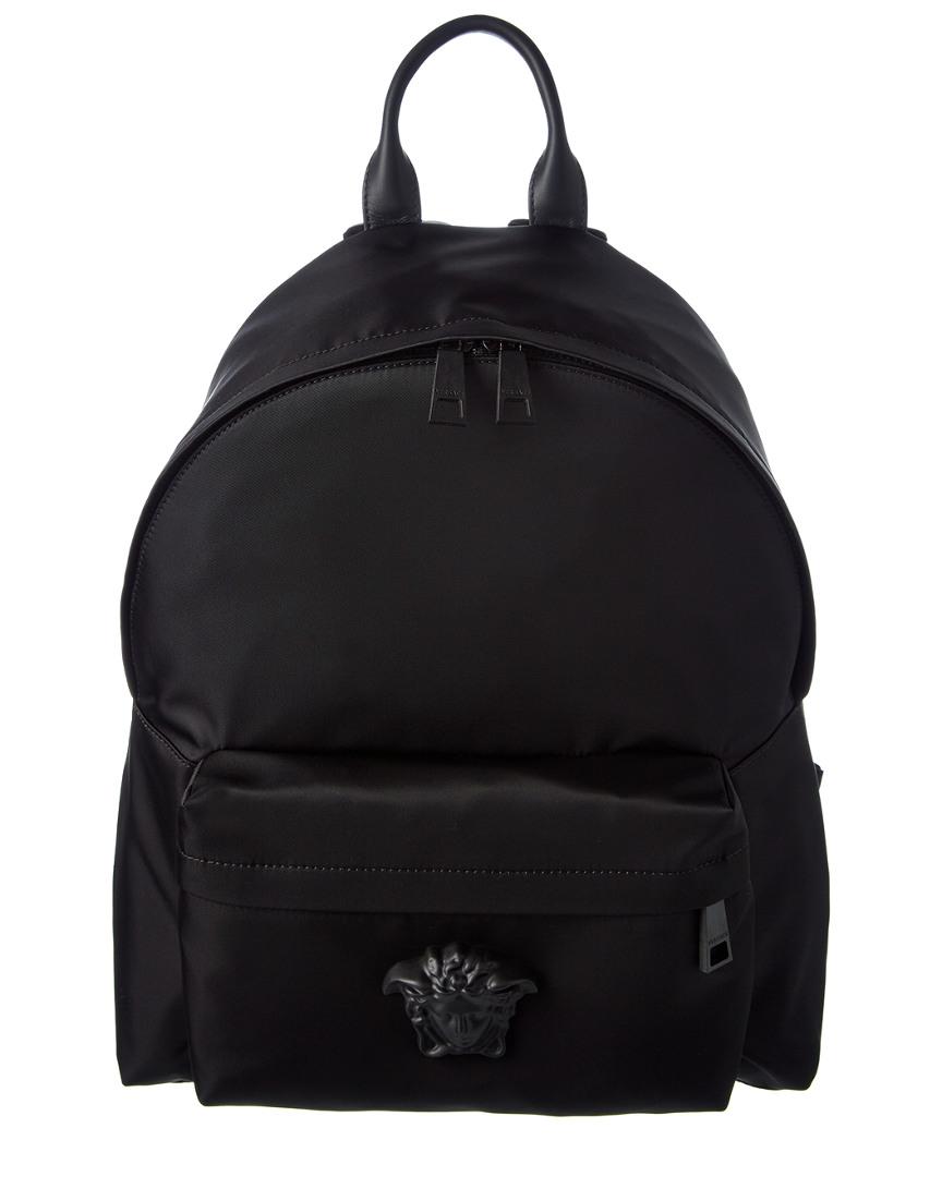 VERSACE Medusa Nylon & Leather Backpack in Black