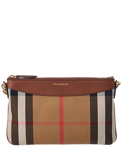 Burberry Peyton Horseferry Check & Leather Clutch Bag
