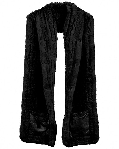 Rachel Furs Knitted Scarf With Leather Patch Pocket