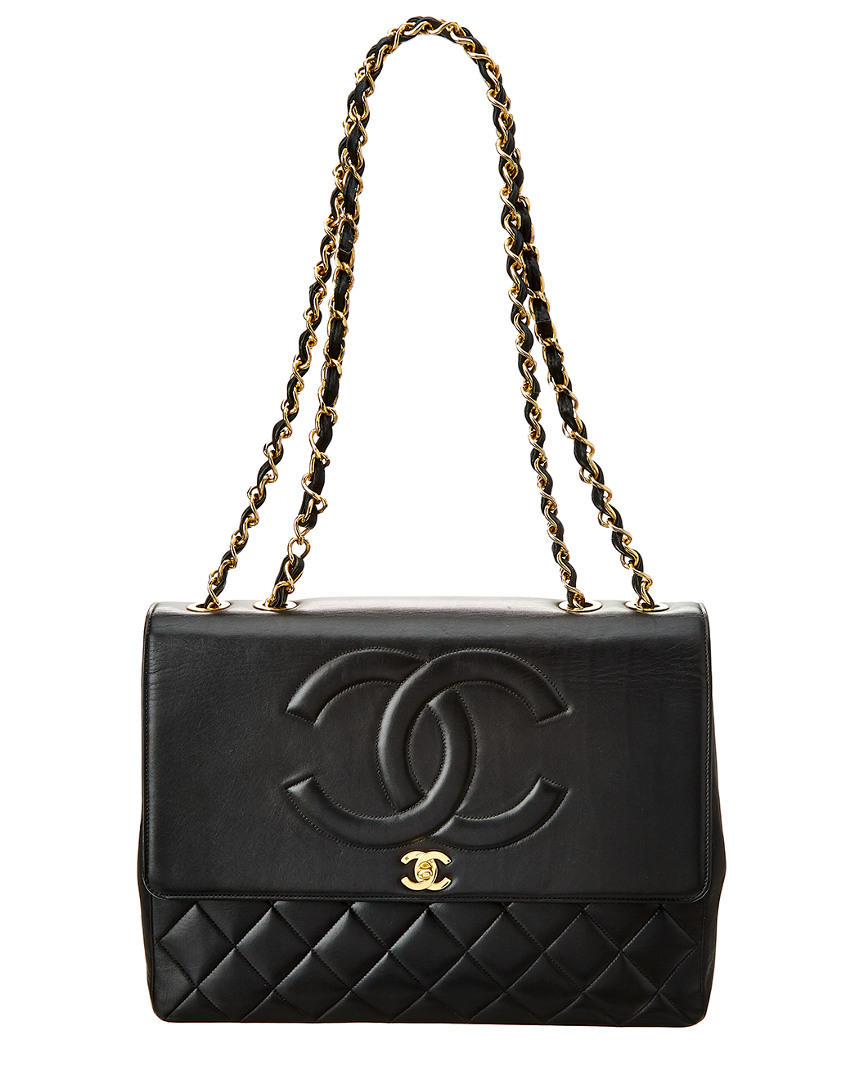 Chanel BLACK QUILTED LAMBSKIN LEATHER CC MAXI SINGLE FLAP BAG