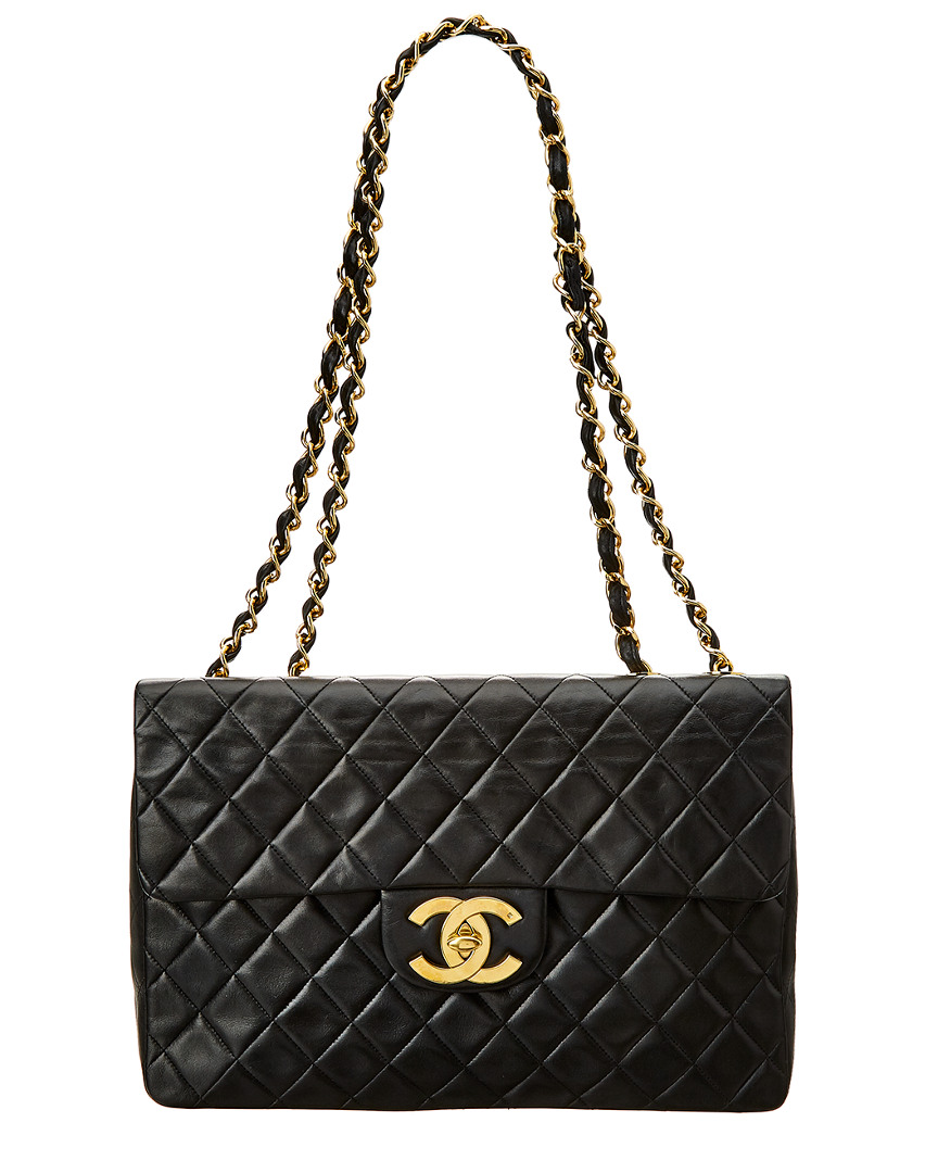 Chanel BLACK QUILTED LAMBSKIN LEATHER MAXI HALF FLAP BAG