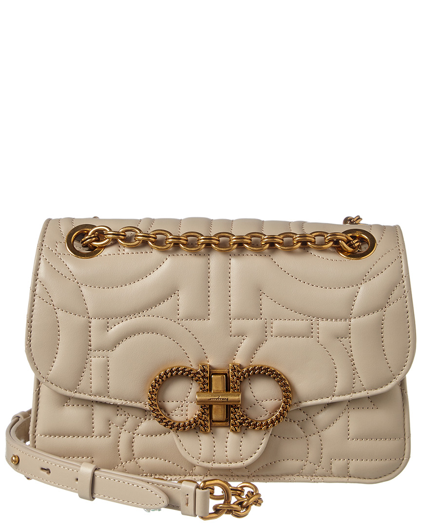 Salvatore Ferragamo Gancini Quilted Leather Shoulder Bag In Nude ... 5f385ef68b