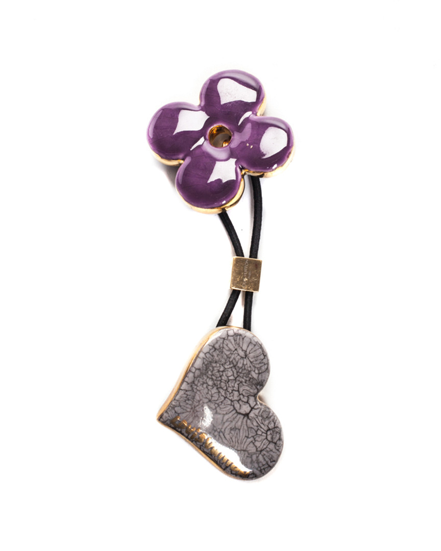 Louis Vuitton Purple   Grey Resin Heart   Flower Ponytail Holder In Nocolor 67c2648fa8b