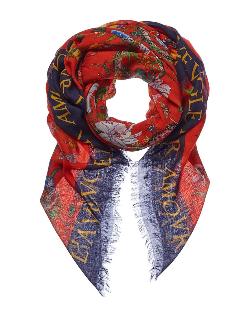 fdaad142860 Gucci Womens Flora Snake Print Wool   Silk-Blend Shawl