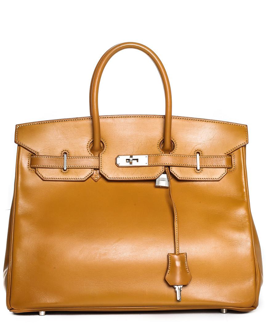 Gold Box Calf Leather Birkin 35Cm, Phw, Nocolor