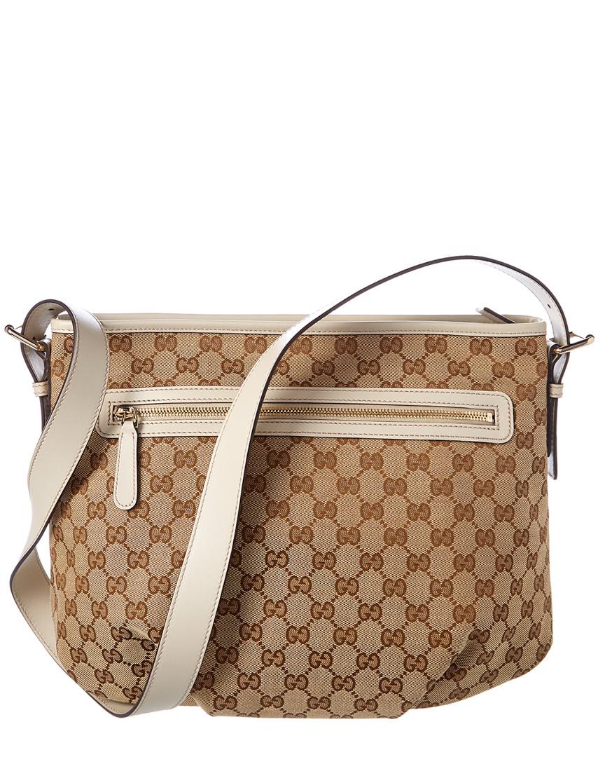 Gucci Brown Gg Supreme Canvas   White Leather Messenger  c5b83d19a5e28