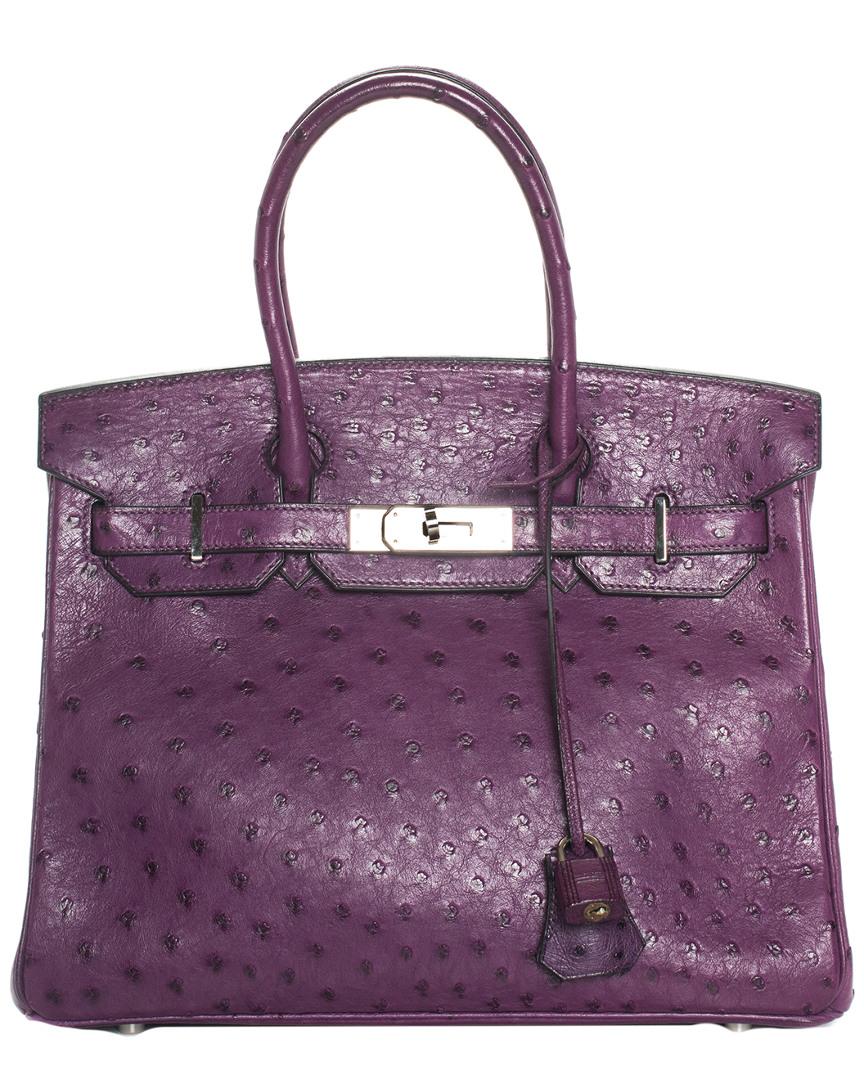 Purple Ostrich Leather Birkin 25Cm Phw, Nocolor
