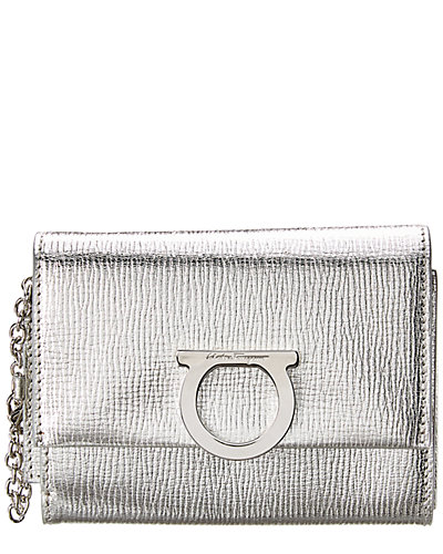 Salvatore Ferragamo Gancini French Metallic Leather Wallet On Chain by Salvatore Ferragamo