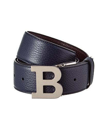 Bally B Buckle Reversible & Adjustable Grained Leather Belt