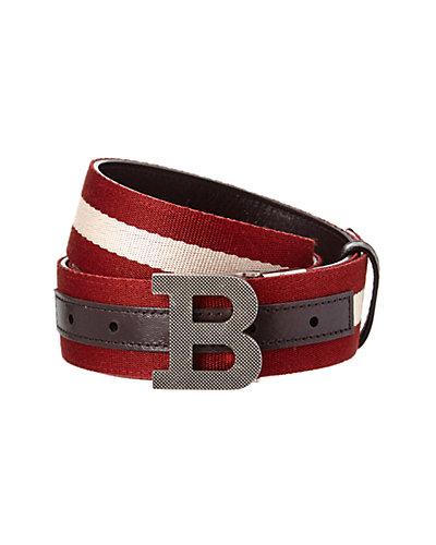 Bally B Buckle Stripe Canvas & Leather Belt