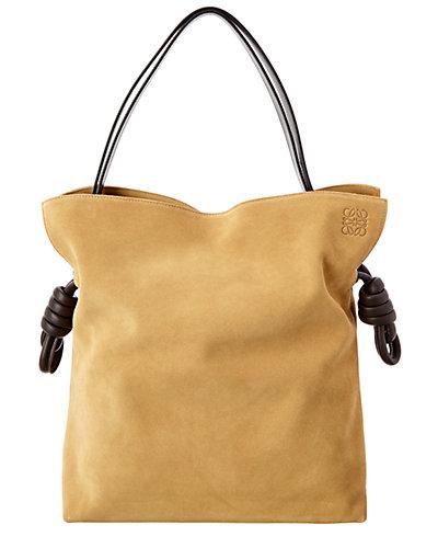 Loewe Flamenco Knot Large Suede Shoulder Bag