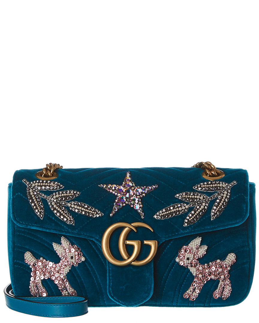 ac5a76a2d1b6 Gucci Marmont Embroidered Velvet Shoulder Bag 2000015227742   eBay
