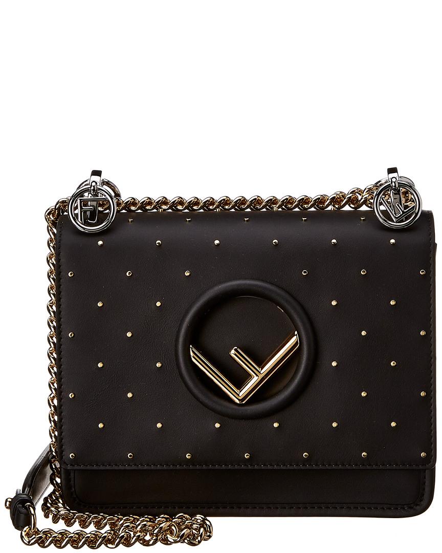 400285168 Fendi Kan I F Leather Shoulder Bag, Black 8059974832133   eBay