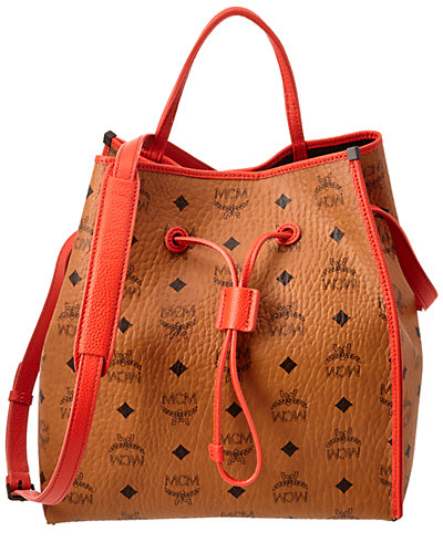 MCM Kira Visetos Drawstring Small Canvas & Leather Shoulder Bag