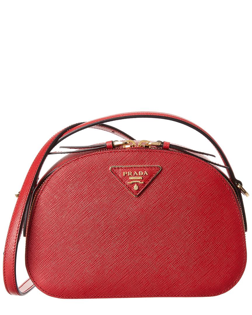 ded395f9b Prada Odette Saffiano Leather Shoulder Bag, Red | eBay