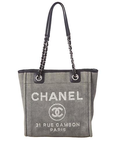 Chanel Gray Canvas Mini Deauville Tote by Chanel