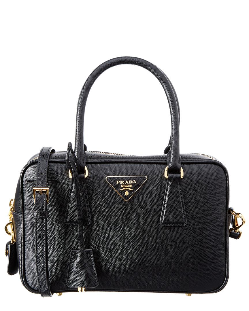 06e59f606fea0f ... clearance prada small leather bowling bag black cdc30 529b6