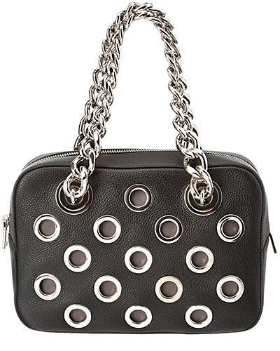 Prada Calf Leather & Grommet Chain Shoulder Bag