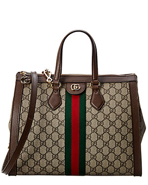 Gucci Ophidia Gg Medium Supreme Canvas Leather Top Handle Tote