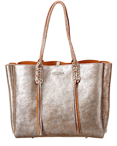 LANVIN Small Metallic Leather Shopping Bag