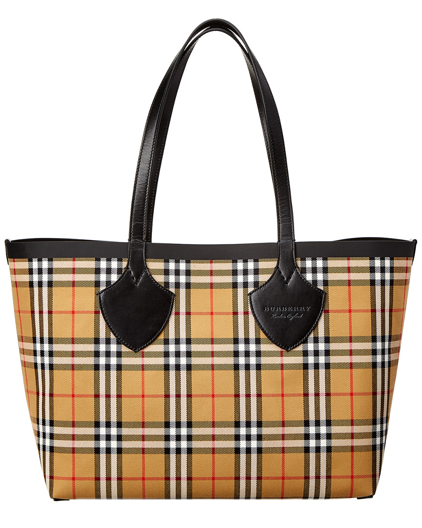 4435801a66 Burberry Medium Giant Reversible Vintage Check & Leather Tote ...