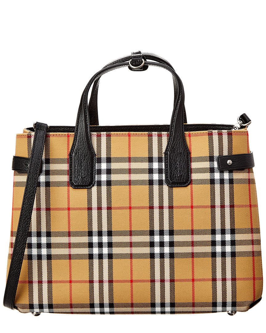 Burberry Medium Banner Vintage Check   Leather Tote In Black   ModeSens 8700d9d7ef