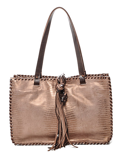 Carla Mancini Leather Double Handle Signature Handbag