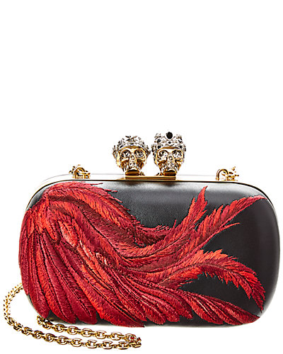 Alexander Mc Queen Queen & King Feather Embroidered Leather Clutch by Alexander Mc Queen