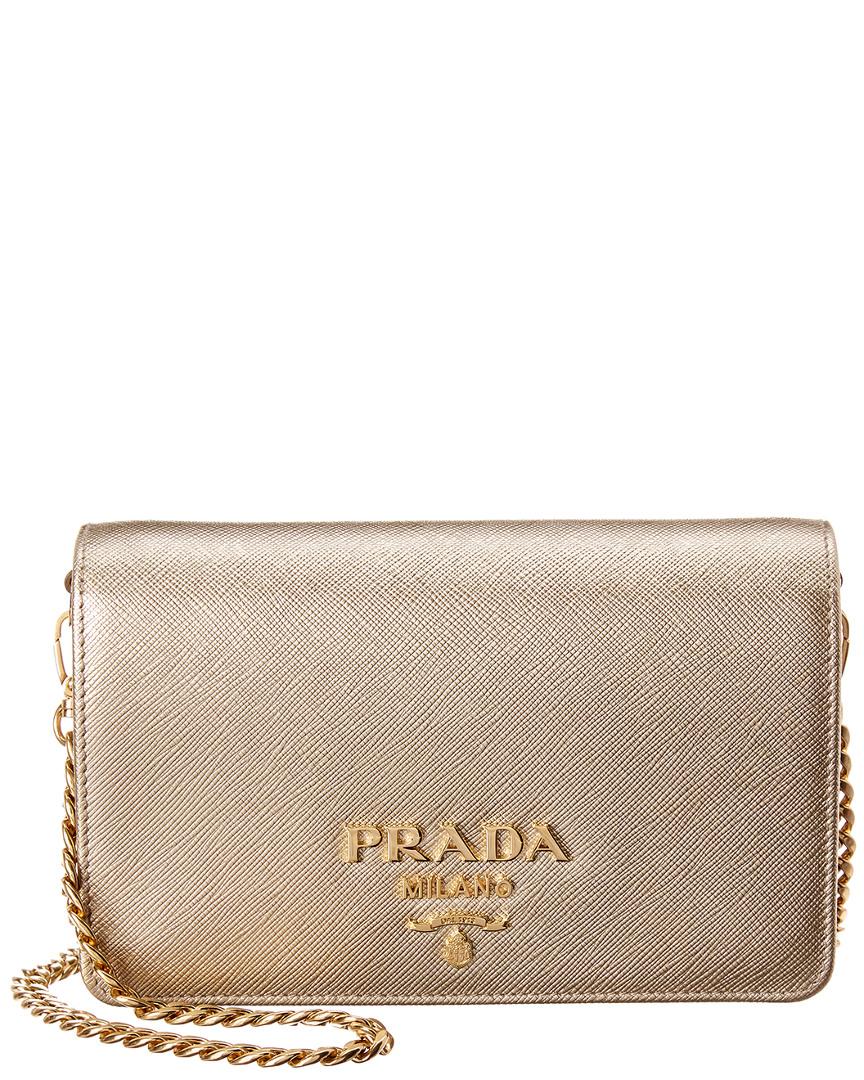 60095de11070 Prada Womens Small Metallic Saffiano Leather Wallet On Chain, Gold ...