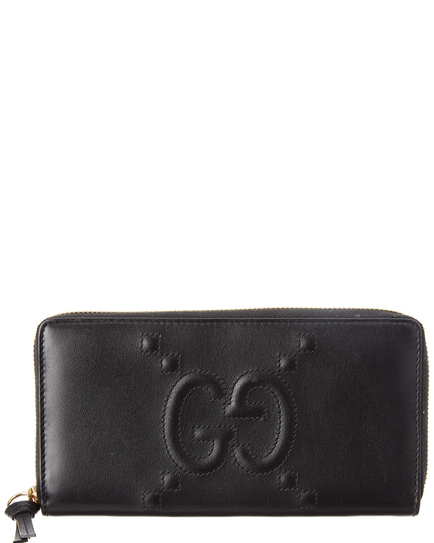 d08d2489e2f937 Gucci Womens Black Leather Ghost Zip Around Wallet | eBay