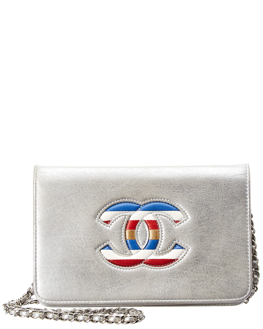 Chanel LIMITED EDITION SILVER METALLIC LEATHER WALLET ON CHAIN