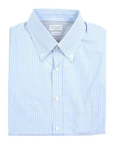 Brunello Cucinelli Button Collar Slim Fit Shirt