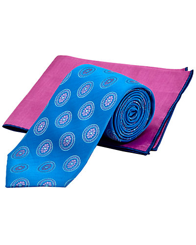 Ted Baker Teal & Purple Silk Tie & Pocket Square Set
