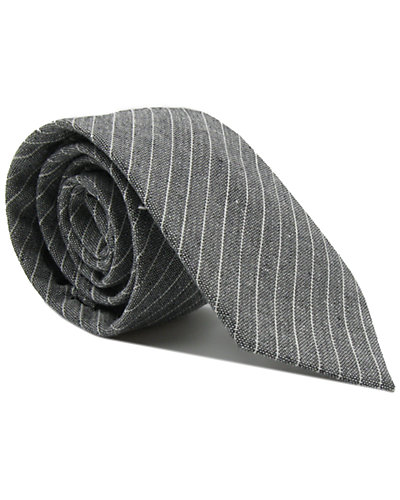 dha|ONE Gray & White Linen Tie