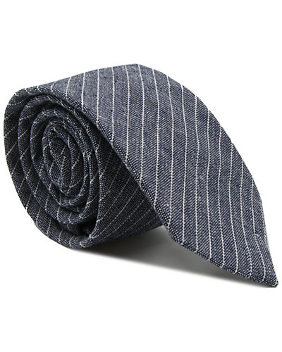dha|ONE Blue & White Linen Tie