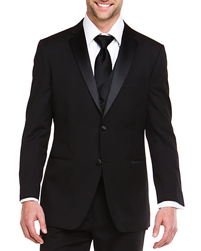 Ike Evening by Ike Behar Black 2 Button Notch Lapel Classic Fit Tuxedo