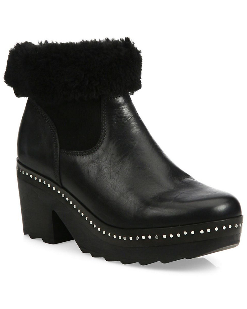 Rag & Bone Leathers NELSON LEATHER & SHEARLING CLOG BOOTIE