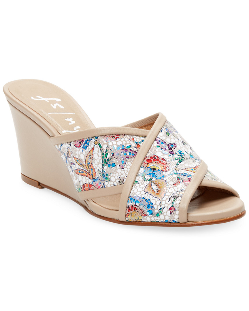 French Sole FLORAL LEATHER WEDGE SANDAL