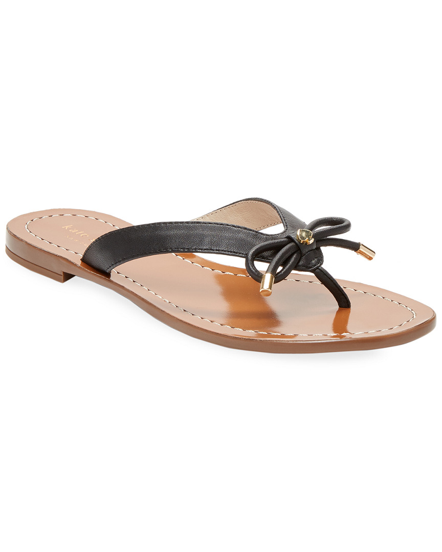 LEATHER THONG BOW SANDAL