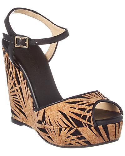 Jimmy Choo Perla 120 Laser Cut Cork & Leather Wedge Sandal