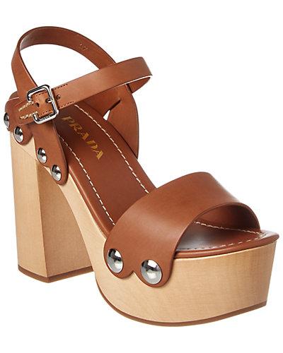 Prada Wood Covered Leather Wedge Sandal