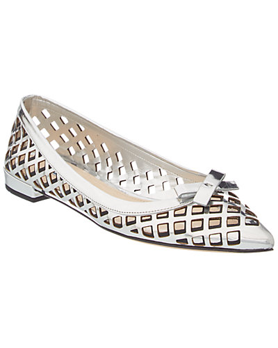 Prada Laser Cut Metallic Leather Pointy-toe Flat